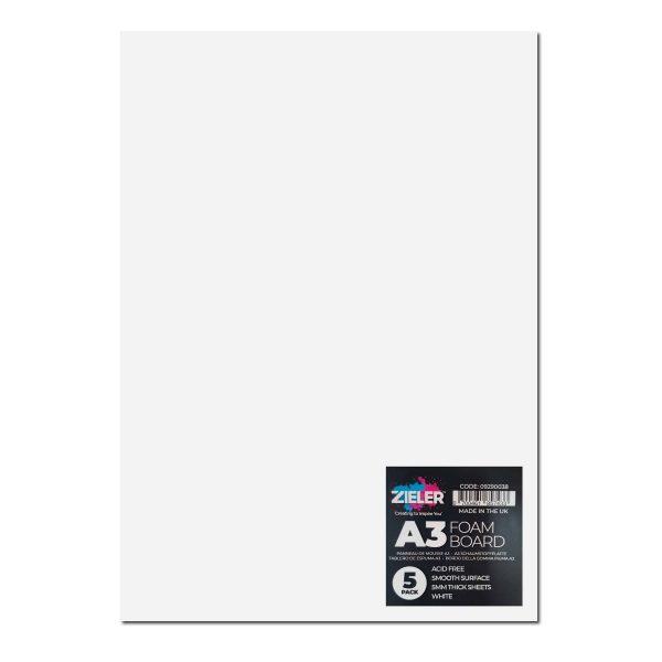 A3 Foam Board - 5Mm - White (Pack Of 5) - Zieler Art Supplies
