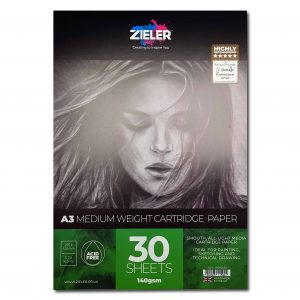 Zieler A3 Medium Weight Cartridge Paper Pad 140gsm