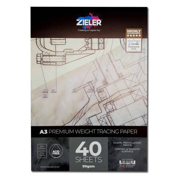 A3 Tracing Paper - 90Gsm Medium Weight, 40 Sheets - Zieler Art Supplies