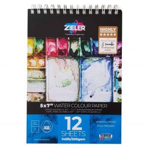"""Zieler 5""""x 7"""" Spiral Bound Watercolour Paper Pad"""