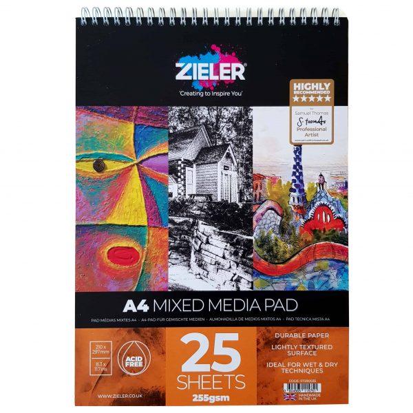 Zieler A4 Spiral Bound Mixed Media Paper Pad
