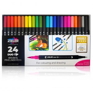Zieler Duotip Brush and Fineliner Colouring Pens