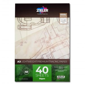 Zieler A3 Thin Tracing Paper Pad 63gsm