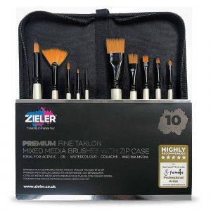 10 Premium Brushes In Zip Case Zieler - Zieler Art Supplies