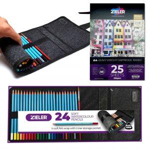 Zieler Watercolour Pencils & A4 Cartridge Pad