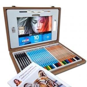 Zieler Sketching & Colouring Wooden Box Set