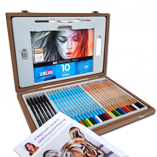 Zieler Sketching &Amp; Colouring Wooden Box Set