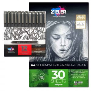 Zieler 12 Fineliner Drawing Pens & A4 Cartridge Paper Pad