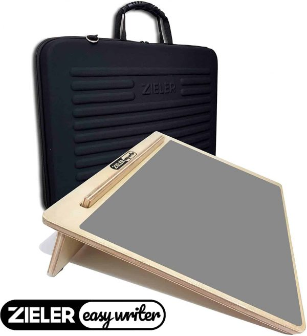 Zieler Easy Writer Wooden Writing Slope With Grip Mat &Amp; Protective Carry Case