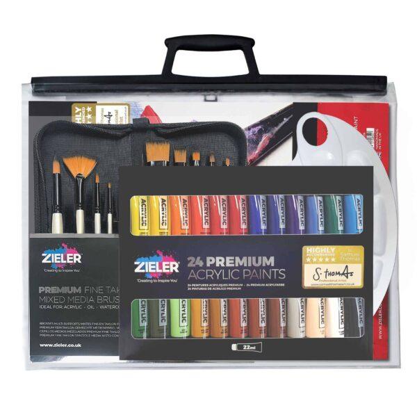 37-Piece Acrylic Paint Set Bundle With Clear A3 Art Bag